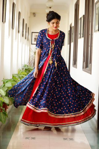 Rayon Multicolor Festive Wear Long Kurti