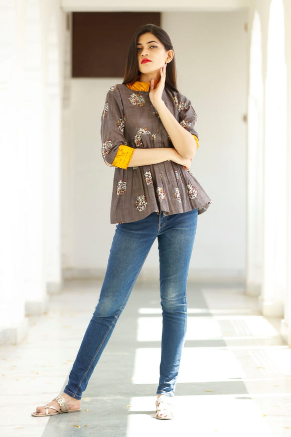 Signature Kesavi printed brown cotton short top