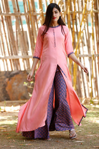 Signature Kesavi printed long kurti with palazzo