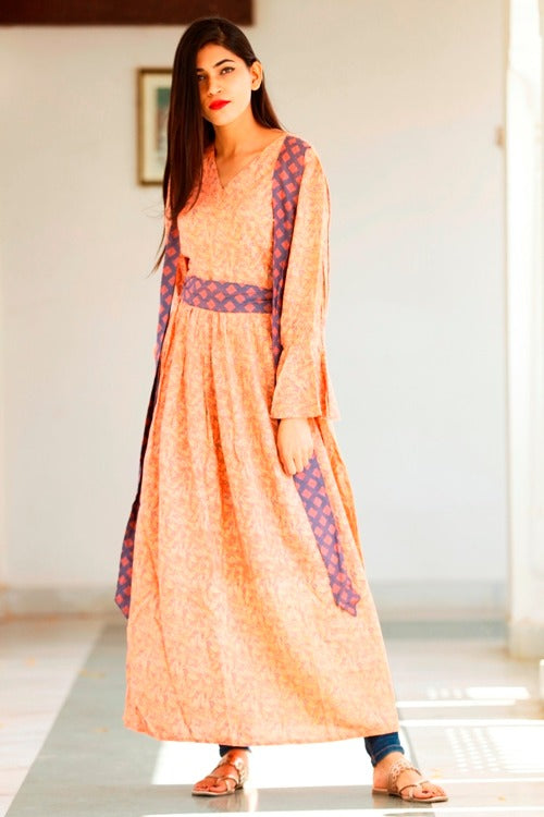 Signature Kesavi peach color rayon plain work kurti