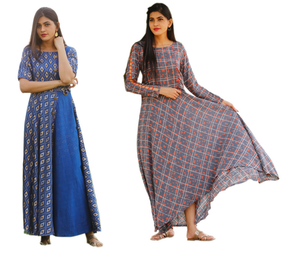 Combo Cotton Flax Blue Golden Kurti with Grey Rayon Full Sleeve Gown