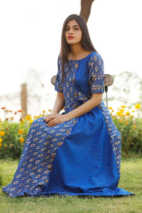 Signature Kesavi Blue flax cotton Kurti