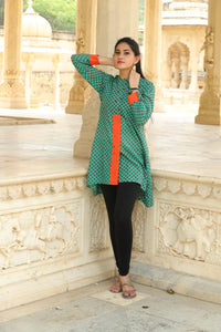 Signature Kesavi peacock straight cotton kurti