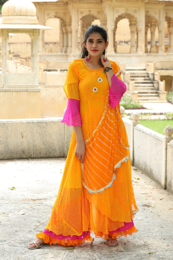 Signature Kesavi Orange Chanderi Womens Kurti