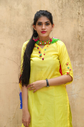 Chanderi Fabric Kurti With Cotton Inner Attached ( W/O Dupatta & Pant)