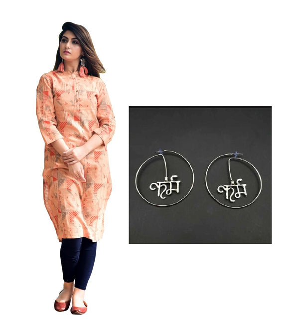 Combo Cotton Dobby Printed Kurta With Round Shaped Karma Silver Earring