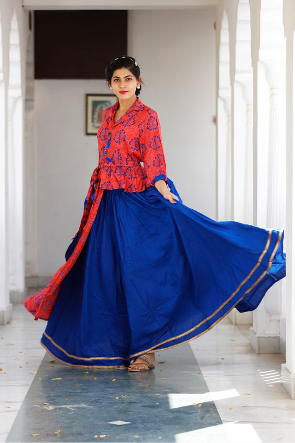Signature Kesavi kurti rayon navy blue and red