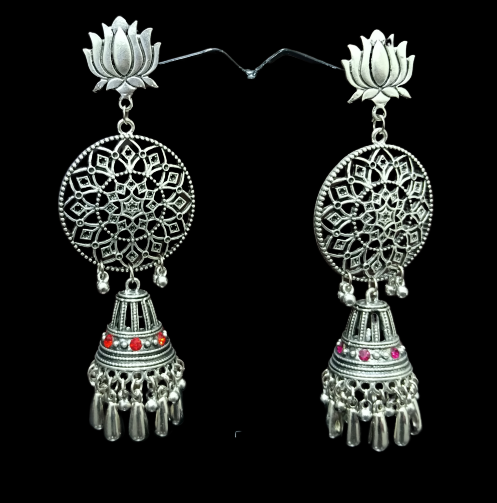 Signature Kesavi Stylish Lotus Design Long Jhumka