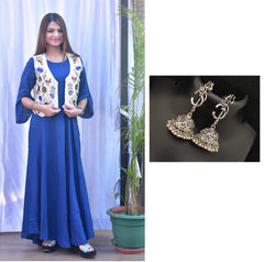 Combo Blue kurti with Detachable jacket With Oxidised Devotional Om Silver Trishul Earrings