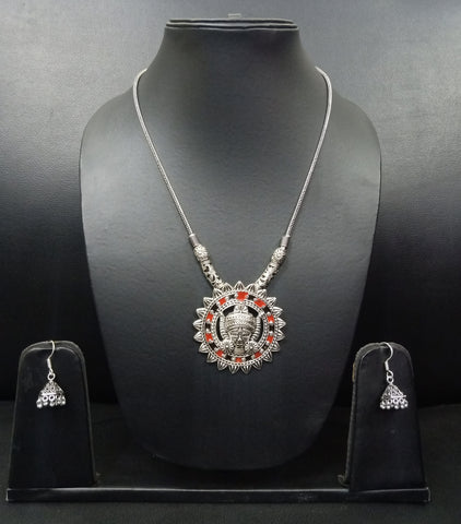 Signature Kesavi Stylish Oxidised Designer Necklace with Earrings