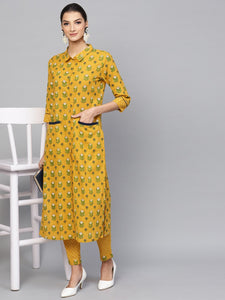 Signature Kesavi Mustard & Green Floral Printed Kurta With Pant