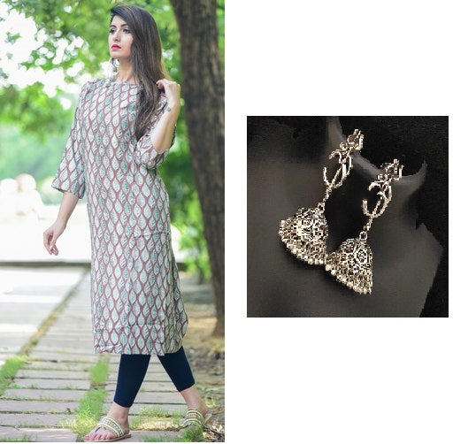 Combo Cotton Cambric Striaght Kurta With Oxidised Devotional Om Trishul Earrings