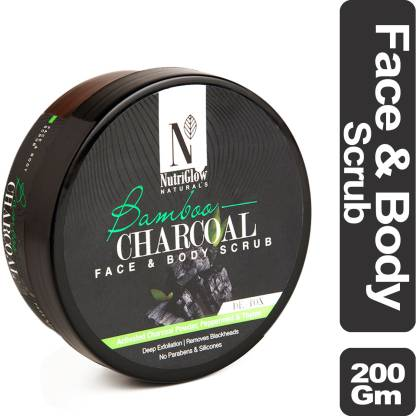 NutriGlow Natural's Bamboo & Charcoal Face & Body Scrub _200 GM