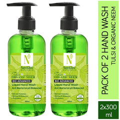 NutriGlow NATURAL'S Combo Of 2-Tulsi & Neem Anti Bacterial Germ Protection Hands |pH Balanced Refreshing Hand Soap|Kills 99.9% Germs /300ml Hand Wash Pump Dispenser