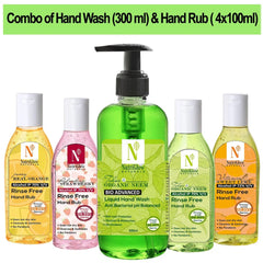 NutriGlow NATURAL'S Combo Of 5 - Bio Advanced Tulsi and Organic Neem Hand Wash (300ml) , Orange(100ml)/Strawberry(100ml)/Neem Tulsi(100ml)/Sweet Lime(100ml) For Best Hand Protection Hand Wash Pump Dispenser  (5 x 140 ml)