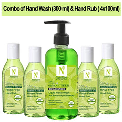 NutriGlow NATURAL'S Pack Of 5 - Bio Advanced Tulsi And Organic Neem Hand Wash (300Ml) & Neem Tulsi Hand Rub (4x100ml)|Kills 99.9% Germs|Travel Friendly & Portable Wash Hand Wash Bottle