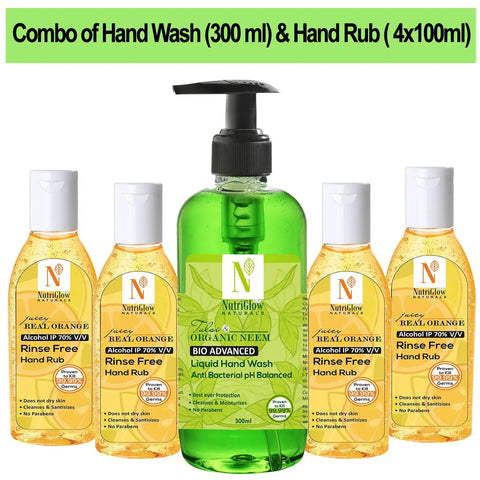 NutriGlow NATURAL'S Combo Of 5 -Organic Neem Tulsi Hand wash (300Ml) & Juicy Orange (4x100ml)|Intense Germ Removal|Refreshing Hand Soap|Travel Friendly Hand Wash Pump Dispenser  (5 x 100 ml)