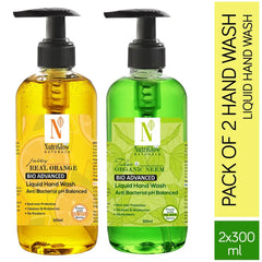 NutriGlow NATURAL'S Pack Of 2-Real Juicy Orange (300ml) & Organic Neem Tulsi (300ml) Moisturise Gel |Refreshing Hand Soap|99.9% Germ Protection/2*300 ml Hand Wash Pump Dispenser