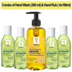 NutriGlow NATURAL'S Juicy Real Orange Hand wash (300Ml) & Neem Tulsi Hand Rub (4x100ml)|Cleansing & Moisturizing Hand Wash |99.9% Germs Protection| Hand Wash Pump Dispenser  (5 x 100 ml)