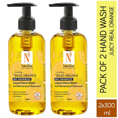 NutriGlow NATURAL'S Combo Of 2- Real Juicy Orange Anti Bacterial Hand Wash |Keeps Hands Clean & Moisturise|Kills 99.9% Germs/2* 300 ml Hand Wash Pump Dispenser
