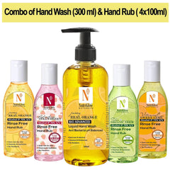 NutriGlow NATURAL'S Hand Care Pack of 5 - Juicy Real Orange Hand wash (300Ml) & Orange (100ml)|Strawberry(100ml)|Neem Tulsi(100ml)|Sweet Lime Hand Rub(100ml) For Cleansing & Moisturizing Hand Wash Hand Wash Pump Dispenser  (5 x 140 ml)
