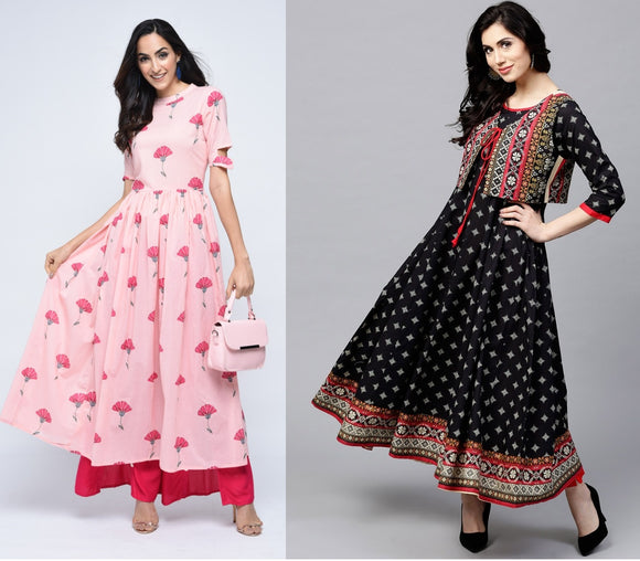 Combo Pink Cotton Floral Kurta with Black Printed Flared Anarkali With Waist Coat