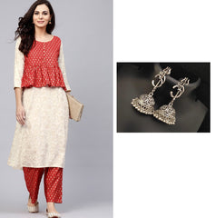 Combo White & Red Gold Printed Straight Kurta With Pant Set With Oxidised Devotional Om Silver Trishul Earrings