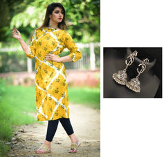 Combo Rayon Slub Straight Kurta With Oxidised Devotional Om Silver Trishul Earrings