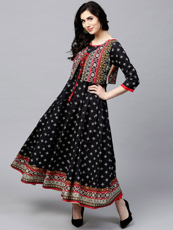 Black Printed Flared Anarkali With Waist Coat