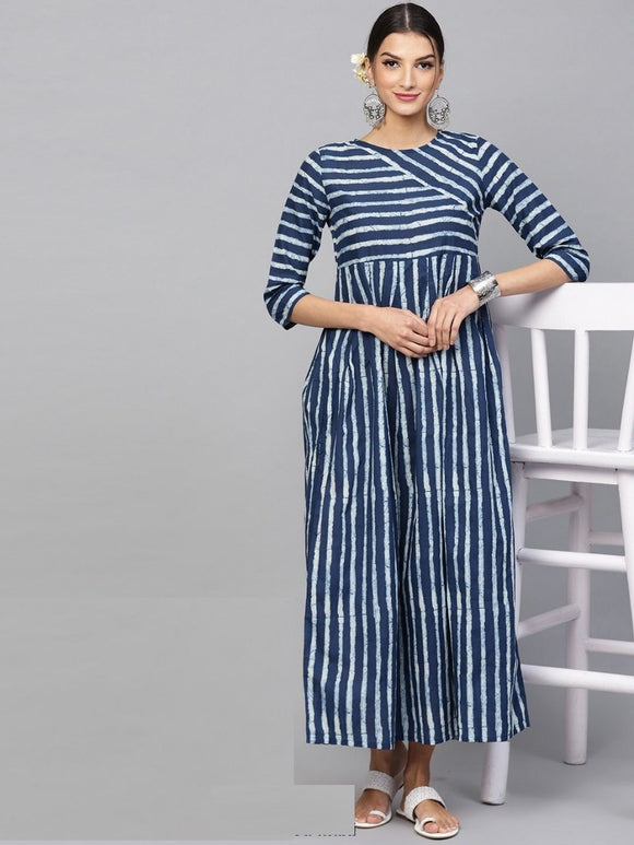 Blue & White Printed striped printed pleated Maxi
