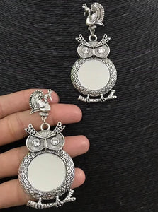 signature Kesavi owl mirror earrings