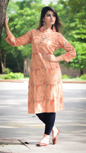 Cotton Dobby Printed Kurta With Wooden Buttons