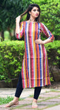 Rayon Printed Straight Kurta With Wooden Buttons