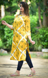 Rayon Slub Straight Kurta With Wooden Buttons