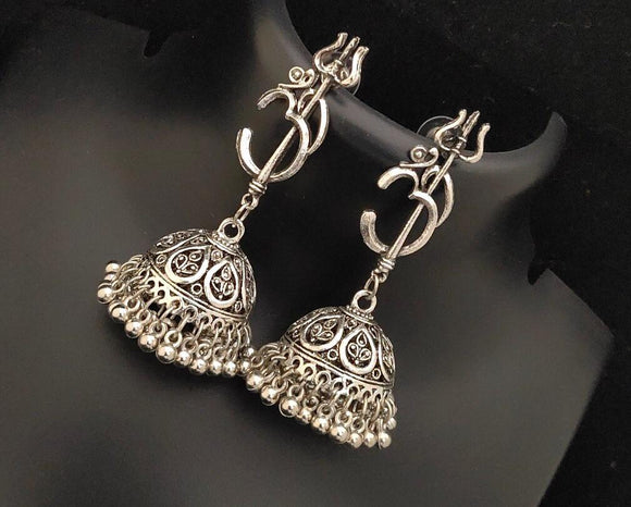Oxidised Devotional Om Trishul Earrings