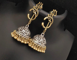Oxidised Devotional Om Trishul Earrings Silver and Golden Mix