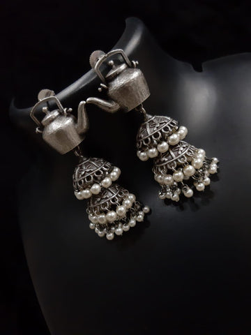 Oxidized Brass Kettle shaped earrings