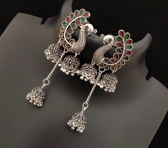 Unique Silver Peacock Earrings