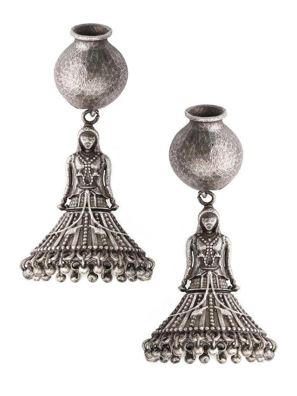 Signature Kesavi Matka with Girl Brass Earrings