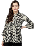 Combo Grey Solid Tunic Tie-Up Sleeve with Black & White Striped Tunic
