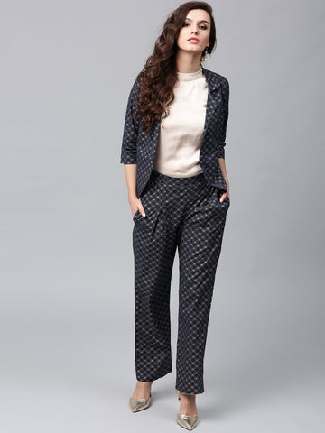 Sapphire Blue Gold Printed Jacket With Pant
