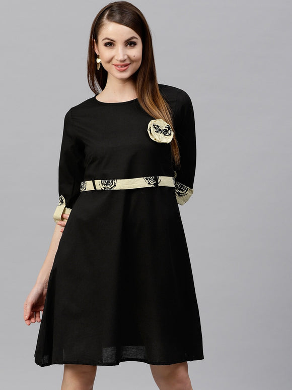 Signature Kesavi black solid skater dress with printed belt