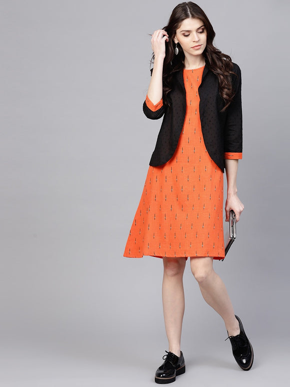 signature kesavi orange black printed dress with black solid jacket
