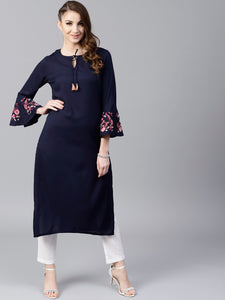 Signature Kesavi navy blue solid straight kurta with sleeve