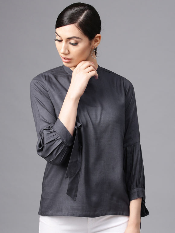 Signature Kesavi grey solid tunic with tie up sleeve