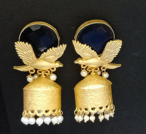 Designer Black Stone Earrings With Golden Birds Work and Pearl