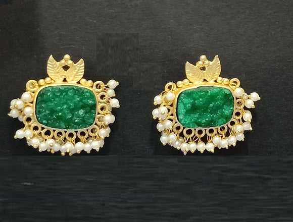 Designer Green Stone Earrings With Golden Work and Pearl