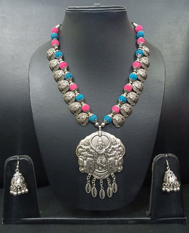 Signature Kesavi Stylish Oxidised Colorful Necklace with Earring