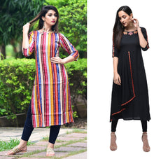 Signature Kesavi Party & Casual Wear Women's Rayon & Cotton Combo Kurti (Pack of 2)