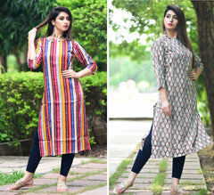 Signature Kesavi Casual Wear Women's Cotton Printed Combo Kurti (Pack of 2)